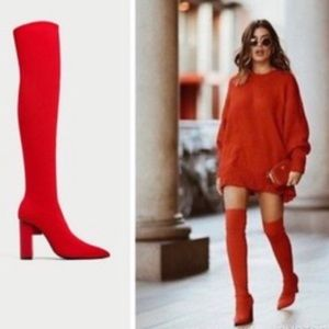 Zara Red elastic Over the knee boots